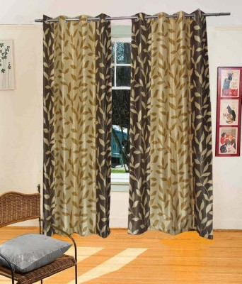 Fresh From Loom Polyester Brown Floral Eyelet Door Curtain