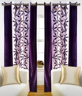 RedHot Polyester Purple Floral Eyelet Window & Door Curtain