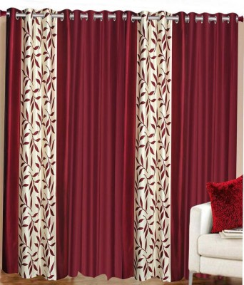 Home Fashion Gallery Polyester Maroon Floral Eyelet Long Door Curtain