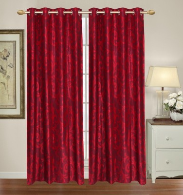 Yellow Weaves Polyester Maroon Floral Eyelet Door Curtain