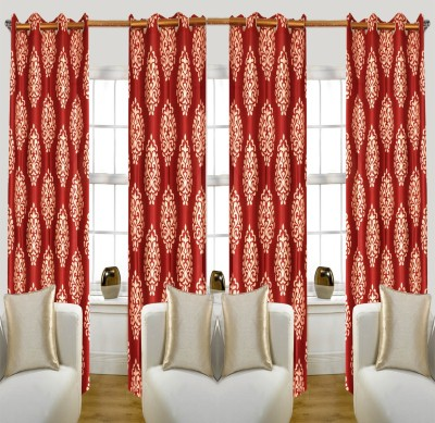 Glamora Interiors Polyester Maroon Printed, Damask Eyelet Window & Door Curtain