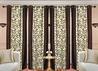 HDECORE Polyester Brown Abstract Eyelet Door Curtain(215 cm in Height, Pack of 4)