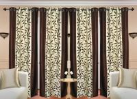 Handloom Hut Polyester Brown Kolawery Window Solid Eyelet Window Curtain(152 cm in Height, Pack of 4)