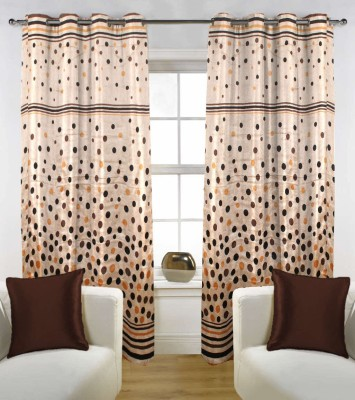 Handloom Factory Polycotton Brown Floral Eyelet Window Curtain