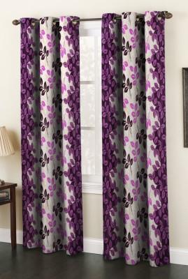 AJ Interior Polyester Purple Printed Eyelet Door Curtain