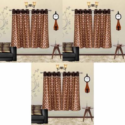 Go Decore Net Brown Self Design Ring Rod Window Curtain