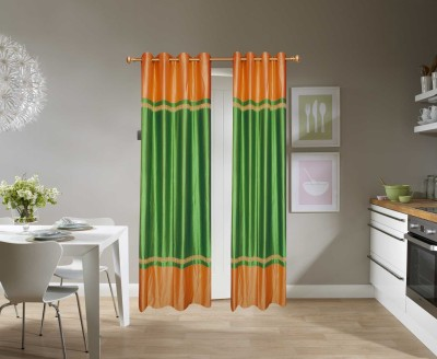 Batham Sales Blends Green Plain Eyelet Door Curtain
