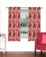 Skipper Polyester Pink Floral Eyelet Window Curtain(152 cm in Height, Single Curtain)