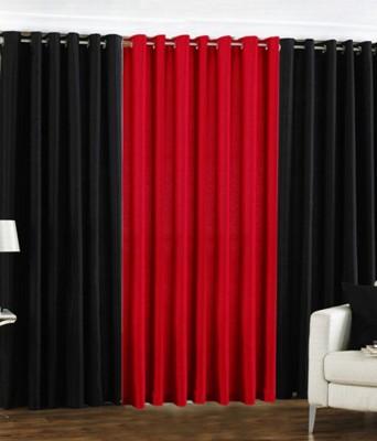 The Decor Hub Polyester Black, Red Plain Eyelet Window Curtain