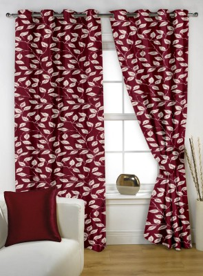 Story @ Home Polyester Peach Printed Tab Top Window Curtain