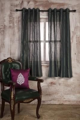 MARIGOLD Cotton Grey Self Design Eyelet Window Curtain