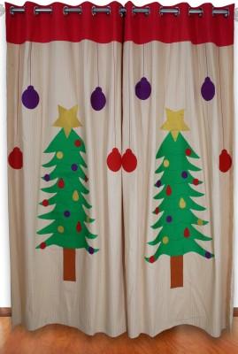 Aurraa Cotton Brown Embroidered Eyelet Window Curtain