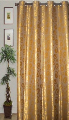 JBG Home Store Polyester Gold Solid Eyelet Door Curtain
