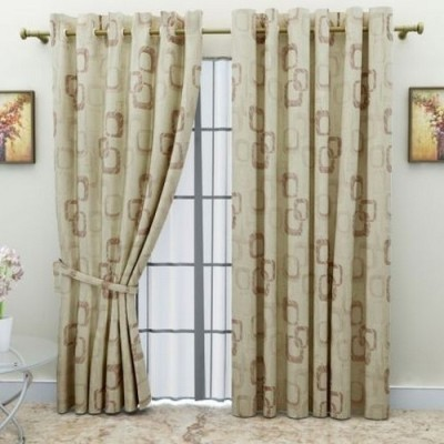 G M HomeFashion Polyester Multicolor Printed Eyelet Door Curtain