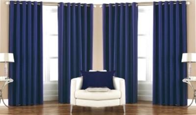 RedHot Polyester Blue Plain Eyelet Long Door Curtain