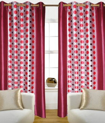 Madavs Polyester Red Geometric Eyelet Door Curtain