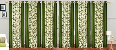 Ville Style Polyester Green Floral Eyelet Door Curtain