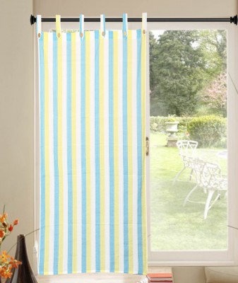 Handloom Factory Cotton Blue, White Striped Tab Top Window Curtain