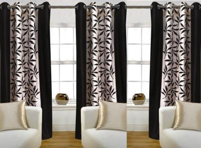 Pendu Art Polyester Printed Brown Printed Eyelet Long Door Curtain