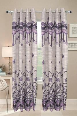 Valtellina Polyester Purple Abstract Eyelet Door Curtain