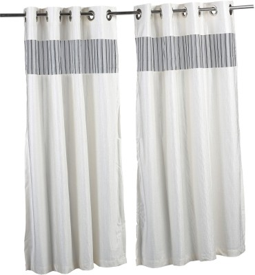Store17 Polyester White Self Design Ring Rod Door Curtain