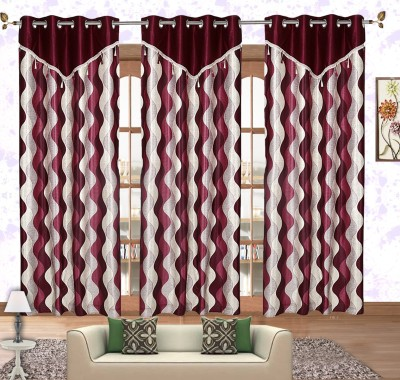 Comfort Zone Polyester Maroon And Silver Abstract Eyelet Door Curtain