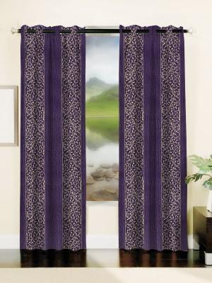 Mahamantra Polyester Purple Solid Eyelet Window Curtain