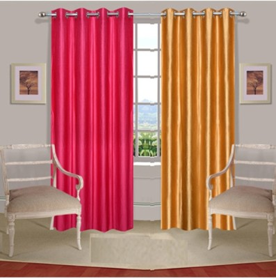 Fogg Polyester Pink, Gold Solid Tab Top Door Curtain