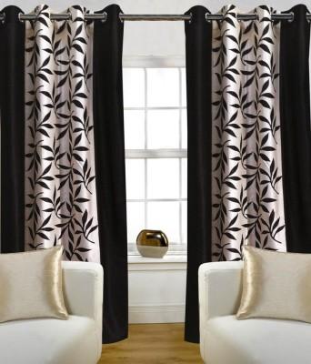 lordkrishna Polyester Brown Floral Ring Rod Door Curtain