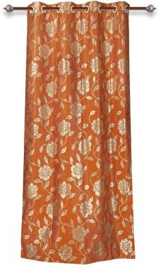 Mahamantra Polyester Orange Solid Eyelet Window Curtain