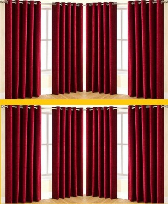 Galaxy Decorations Polyester Maroon Plain Eyelet Door Curtain