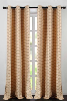 Deco Essential Polyester Dark Brown Beige Plain Eyelet Window Curtain