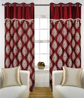 Jh Decore Polyester Maroon Printed Eyelet Door Curtain