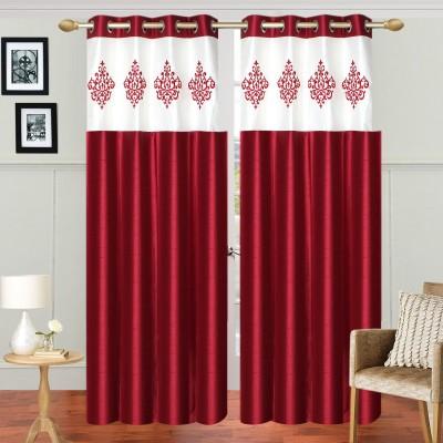 Abhi Décor Polyester Maroon Embroidered Curtain Long Door Curtain