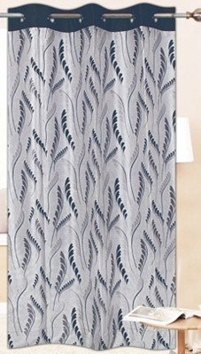 Drapez Polyester Grey & Black Floral Eyelet Long Door Curtain