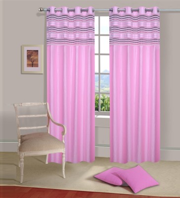 Ville Style Polyester Baby Pink Solid Eyelet Door Curtain