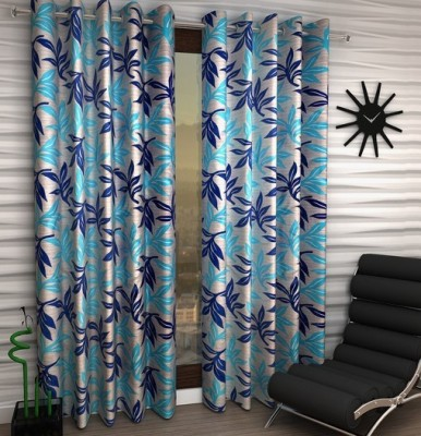 Home Fantasy Polyester Blue Floral Eyelet Door Curtain