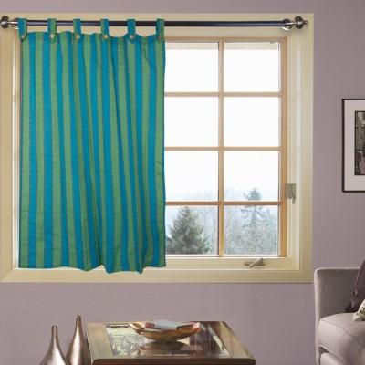 Handloom Factory Cotton Blue, Green Striped Tab Top Window Curtain