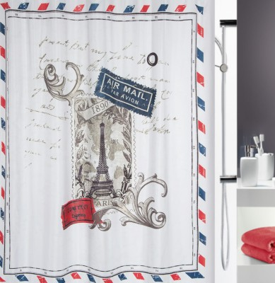 Spread Polyester Blue-Red Printed Eyelet Shower Curtain