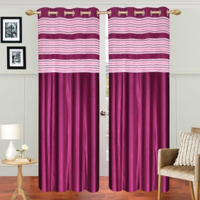 Decorista Polyester Pink Solid Rod pocket Door Curtain