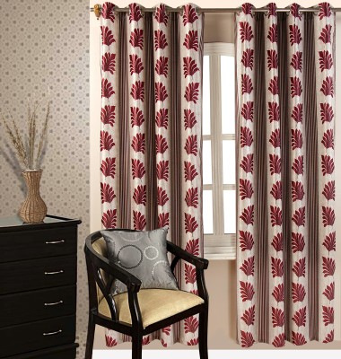 Royal Collection Polyester Red Printed Eyelet Window Curtain