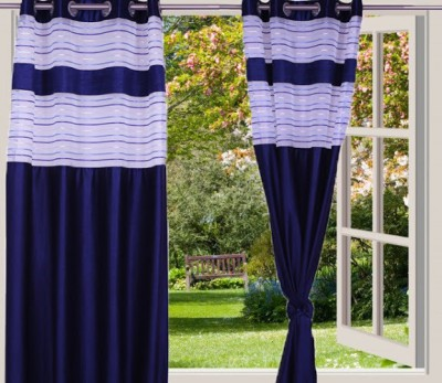 Desire Polyester Blue Solid Eyelet Window Curtain