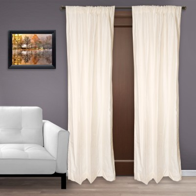 Marmitte Silk Off-White Plain Rod pocket Door Curtain