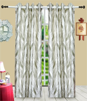 J&J Polyester Grey Printed Eyelet Window & Door Curtain