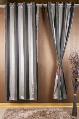 Homelife Satin Grey, Silver Geometric Eyelet Window Curtain