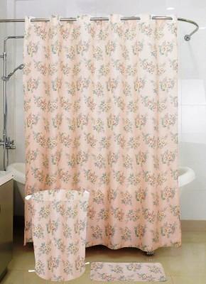Skap Polyester White Floral Ring Rod Shower Curtain