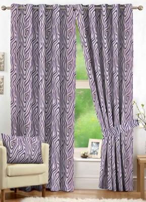 NuHome Decor Polyester Lavender Geometric Eyelet Long Door Curtain
