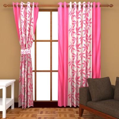Home Fantasy Polyester Multicolor Floral Eyelet Door Curtain