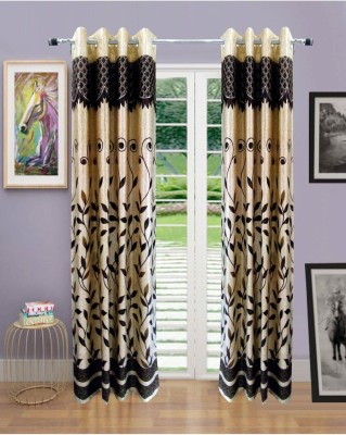 Handy Texty Polyester Brown Printed Eyelet Door Curtain