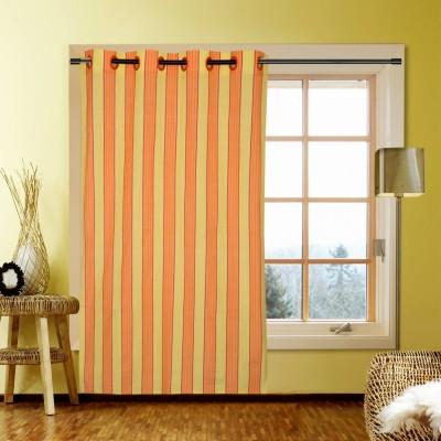 Handloom Factory Cotton Yellow, Orange Striped Eyelet Window Curtain